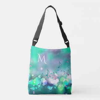 Music Notes and Lights Monogram Tote Bag