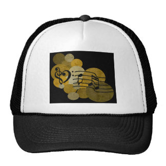 Music notes and polka dots – gold trucker hat