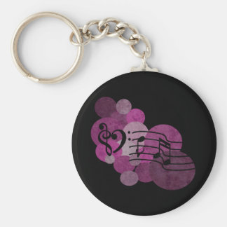 Music notes and polka dots – pink keychain