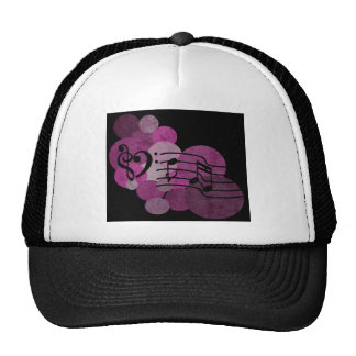 Music notes and polka dots – pink trucker hat
