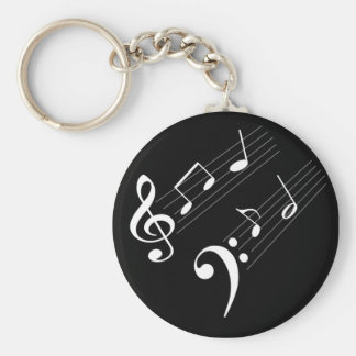 Music Notes Basic Round Button Keychain