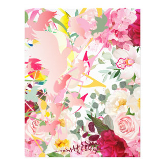 Music Notes, Birds and Flowers Letterhead