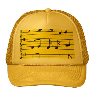 Music Notes - Black on Yellow Trucker Hat