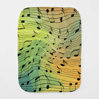 Music notes burp cloth