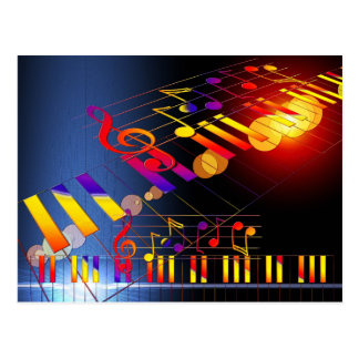 Music notes colorful illustration postcard
