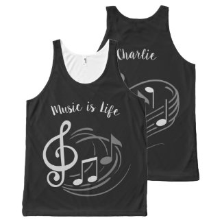 Music Notes custom name tank top