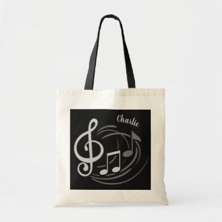 Music Notes custom name tote bags