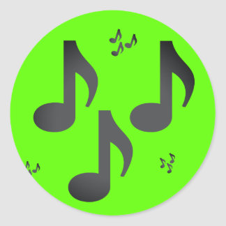 Music Notes Emojis Classic Round Sticker