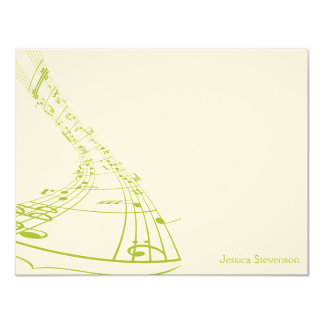 Music Notes Flat Note Card (green)