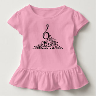 Music Notes Girls Ruffle Shirt