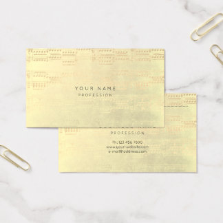 Music Notes Gold Champaign Minimal Foxier Business Card