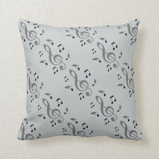 Music Notes Gray Throw Pillow