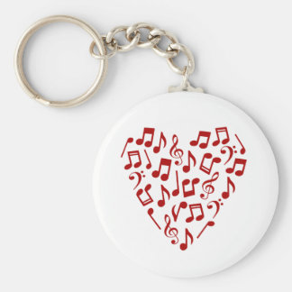 Music Notes Heart Keychain - Red Notes