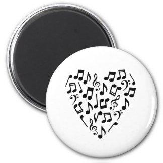 Music Notes Heart Magnet (Black)