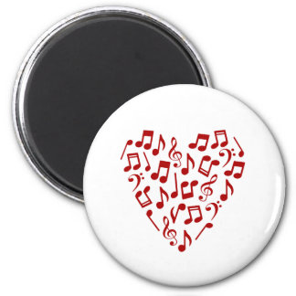 Music Notes Heart Magnet (Red)