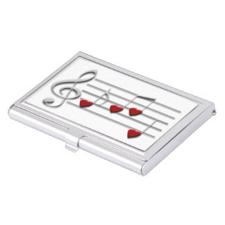 music notes hearts design business card holder