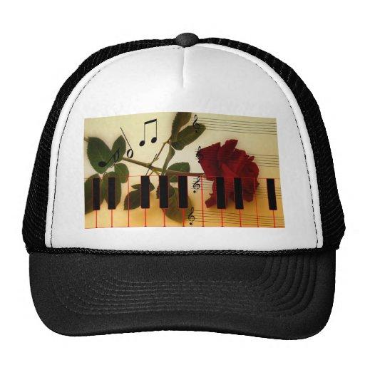 Music Notes Keyboard Red Rose Blossom Destiny Trucker Hat
