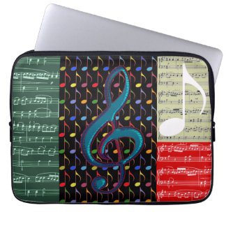 music notes mixed pattern laptop sleeve