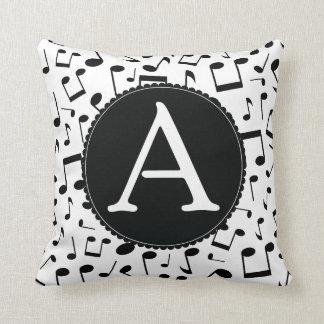 Music Notes Monogram A Throw Pillow gif