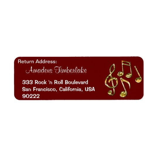 Music Notes Music Lovers Return Address Labels