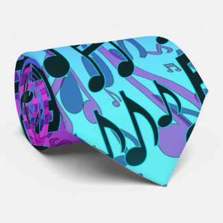 Music Notes Musical Pattern Aqua Blue Green Purple Tie