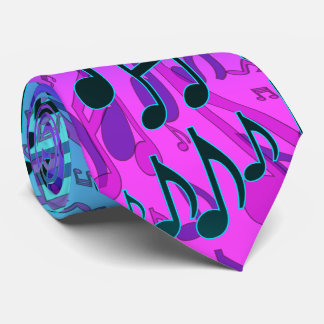 Music Notes Musical Pattern Blue Green Pink Aqua Tie
