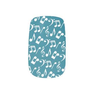 Music Notes Nail Wraps-Teal and White Minx Nail Art