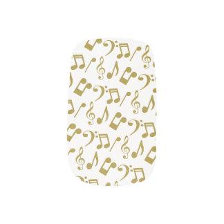 Music Notes Nail Wraps-White and Gold Minx Nail Art