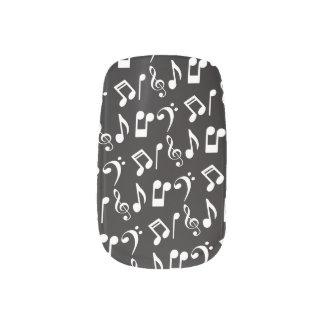 Music Notes Nail Wraps-White Music Notes Minx Nail Art