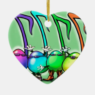 Music Notes Party Ceramic Heart Ornament