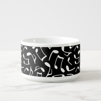 Music Notes Pattern Black and White Bowl