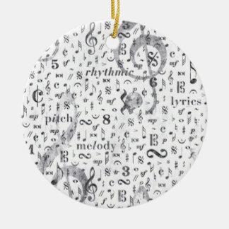 Music Notes Pattern Ceramic Ornament