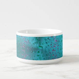 Music Notes Pattern in Teal and Purple Chili Bowl