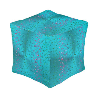 Music Notes Pattern in Teal and Purple Pouf