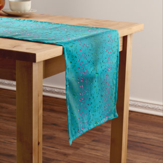 Music Notes Pattern in Teal and Purple Short Table Runner