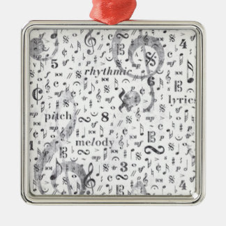 Music Notes Pattern Metal Ornament