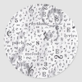 Music Notes Pattern Music Theme Classic Round Sticker