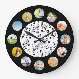 Music Notes Pattern Photo Collage Clock