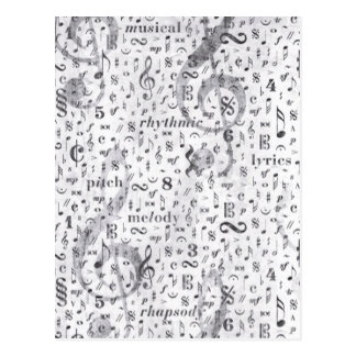 Music Notes Pattern Postcard