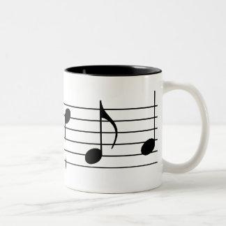 Music Notes & Staff Two-Tone Coffee Mug