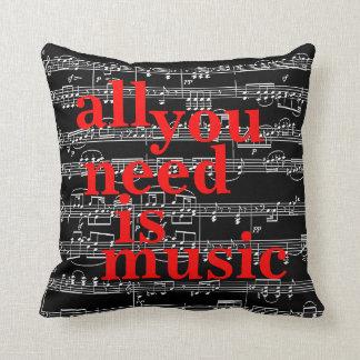 music notes themed decor throw pillow
