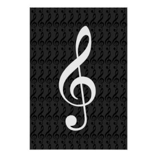 music notes, treble clef, cool graphic b&w poster