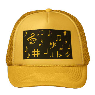 Music Notes - Yellow on Black Trucker Hat