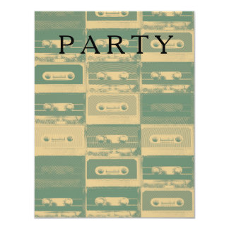 Music party cassette pattern. card