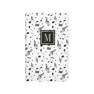Music Pattern Modern Monogram Initial Journals