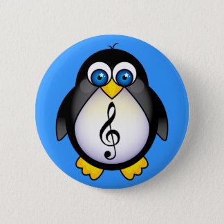 Music Penguin Treble Clef 2 Inch Round Button