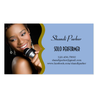 Music Performer Elegant Photo Business Card