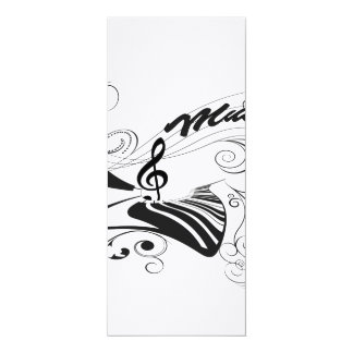 Music, piano and clef with floral elements card