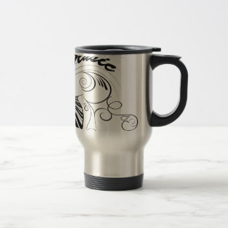 Music, piano and clef with floral elements stainless steel travel mug