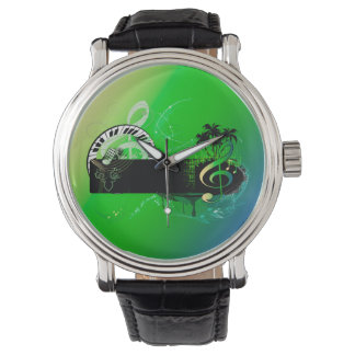 Music, piano and clef with microphone watch